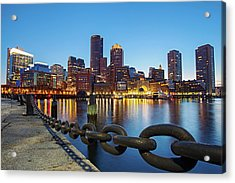 Dusk In Boston Acrylic Print by Photography By Nick Burwell
