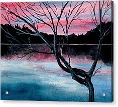 Dusk Lake Arrowhead Maine  Acrylic Print