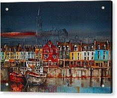 Dusk On Cobh Harbour Cork Acrylic Print