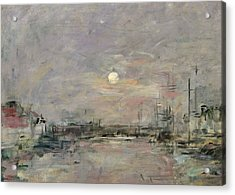 Dusk On The Commercial Dock At Le Havre Acrylic Print by Eugene Louis Boudin