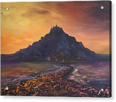 Acrylic Print featuring the painting Dusk Over St Michaels Mount Cornwall by Jean Walker