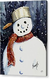 Dustie's Snowman Acrylic Print by Sam Sidders