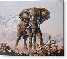Acrylic Print featuring the painting Dusty Jumbo by Anthony Mwangi