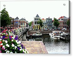 Dutch Cityscape With Boats Acrylic Print by Carol Groenen