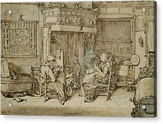 Dutch Interior, 1617 Pen, Ink And Brush On Paper Acrylic Print by Willem Pietersz Buytewech