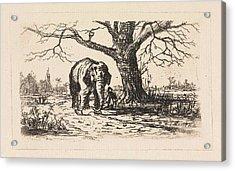 Dutch Landscape With An Elephant And Supervisor Acrylic Print