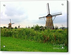Dutch Landscape With Windmills Acrylic Print by Carol Groenen