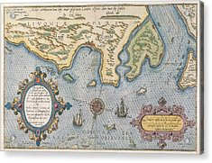Dutch Trade Map Of The Baltic Sea Hand-coloured Engraving Acrylic Print by Dutch School