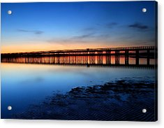 Duxbury Beach Powder Point Bridge Twilight Acrylic Print