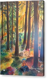 Dwarf In Wermlands Forest Acrylic Print by Rosa Garcia Sanchez