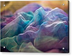 Dyed Silk Acrylic Print by Liz  Alderdice
