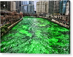 Dyeing The Chicago River Green Acrylic Print