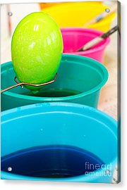 Dying Easter Eggs Acrylic Print by Edward Fielding