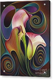 Dynamic Floral 4 Cala Lillies Acrylic Print by Ricardo Chavez-Mendez