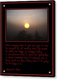 Each Morning Acrylic Print by Bill Cannon