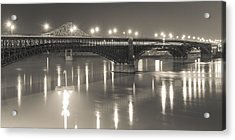 Acrylic Print featuring the photograph Eads Bridge And Train by Scott Rackers
