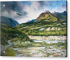 Eagle In Stormy Sky Acrylic Print