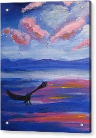 Acrylic Print featuring the painting Eagle  On Lake by Diana Riukas