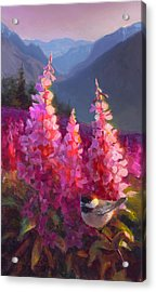 Eagle River Summer Chickadee And Fireweed Alaskan Landscape Acrylic Print