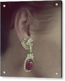 Ear Of A Model With A Ruby Earring Acrylic Print