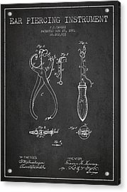 Ear Piercing Instrument Patent From 1881 - Charcoal Acrylic Print by Aged Pixel