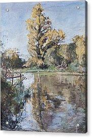 Early Autumn On The River Test Acrylic Print by Caroline Hervey-Bathurst