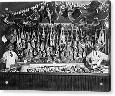 Early Butcher Shop Acrylic Print by Underwood Archives