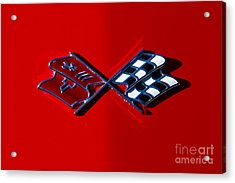 Early C3 Corvette Emblem Red Acrylic Print by Dennis Hedberg