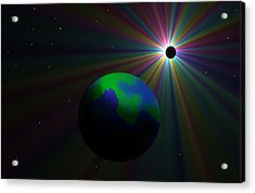 Early Earth Lunar Eclipse Acrylic Print by Ricky Haug