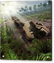 Early Mammals Hiding In T-rex Carcass Acrylic Print by Mark Garlick