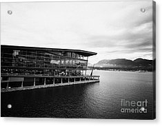 early morning at the Vancouver convention centre west building on burrard inlet BC Canada Acrylic Print by Joe Fox