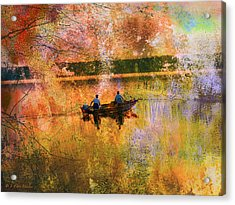 Early Morning Fishermen Looking For That Perfect Spot Acrylic Print by J Larry Walker