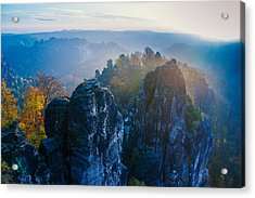 Early Morning Mist At The Bastei In The Saxon Switzerland Acrylic Print