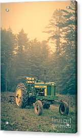 Early Morning Tractor In Farm Field Acrylic Print