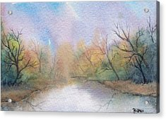 Acrylic Print featuring the painting Early Morning Waterway by Rebecca Davis