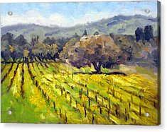 Early Mustard In The Vineyards Acrylic Print by Char Wood