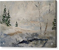 Acrylic Print featuring the painting Early Snow by Alan Lakin