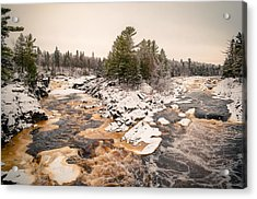 Early Snowfall On The Saint Louis River Acrylic Print by Mark David Zahn