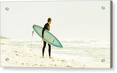 Early Surf Acrylic Print by Lindy Brown