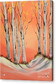 Acrylic Print featuring the painting Early Winter Aspen by Janice Rae Pariza