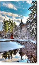 Early Winter At The Red Boathouse Acrylic Print by David Patterson