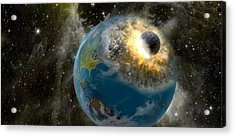 Earth Being Hit By A Planet Killing Acrylic Print