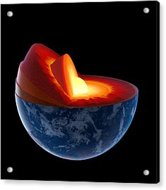 Earth Core Structure - Isolated Acrylic Print