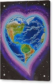 Earth Equals Heart Acrylic Print by R Neville Johnston