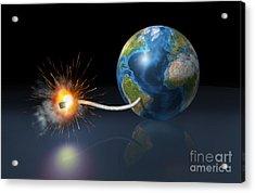 Earth Globe With A Fuse Lighted Acrylic Print by Leonello Calvetti