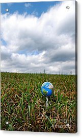 Earth Golf Ball On Tee Acrylic Print by Amy Cicconi