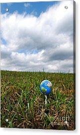 Earth Golf Ball On Tee Acrylic Print by Amy Cicconi