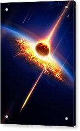 Earth In A  Meteor Shower Acrylic Print by Johan Swanepoel