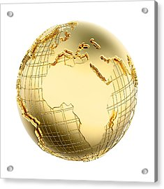 Earth In Gold Metal Isolated - Africa Acrylic Print by Johan Swanepoel