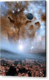 Earth-like Alien Planet And Nebula Acrylic Print by Nasa, Esa, And The Hubble Heritage Team (stsci/aura)/detlev Van Ravenswaay